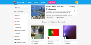 Dashboard of language app Memrise