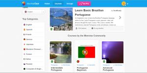 Dashboard of language app Memrise